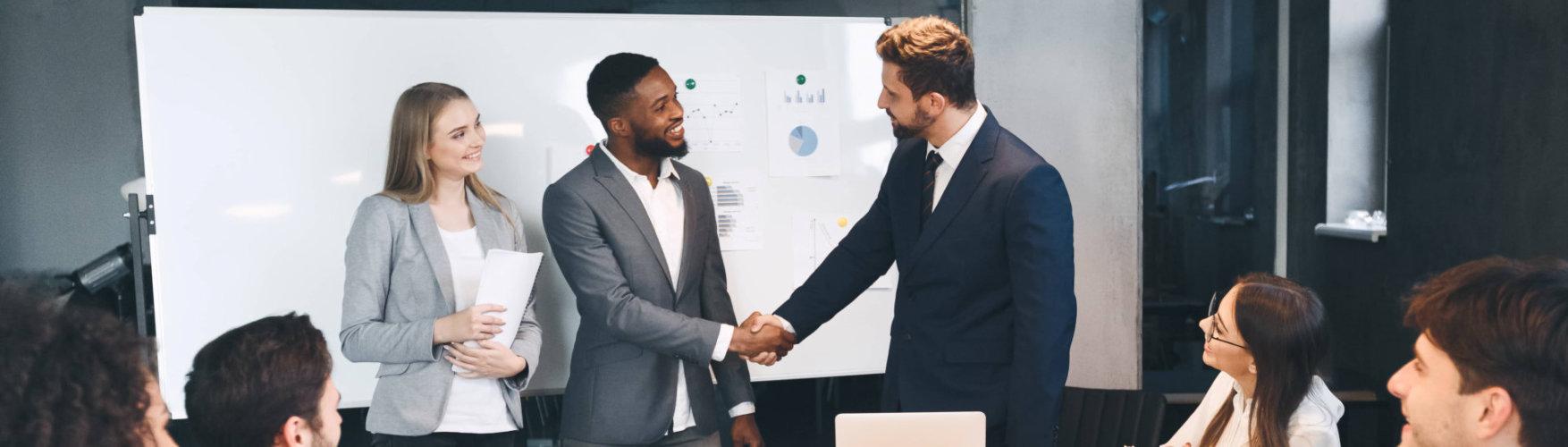 business partners doing shakehands